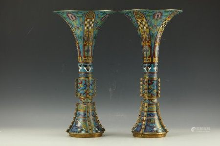 A Pair of Fine Chinese Cloisonne Gu Vase