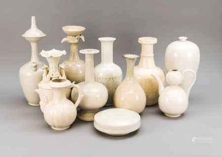 Large collection of monochrome white ceramics, China, 20th century. Vases and vessels in