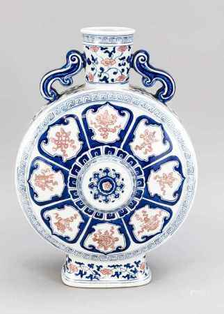 Great Moon Flask, China, 19th / 20th Century decorated in cobalt blue and copper red with