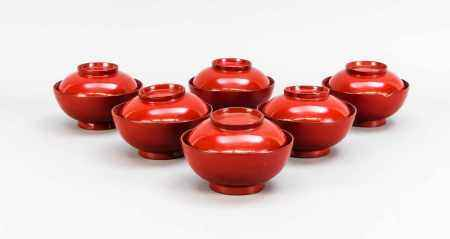 6 Negoro Lacquered Lidded Bowls, Japan, probably 19th C. Red and black Urushi lacquer on a