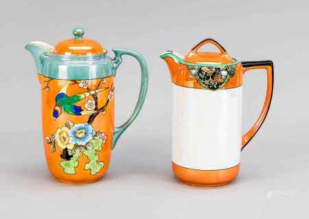 2 Noritake Art Deco Jugs, Japan, 1st H. 20th C. 1 x with a colorful bird in a branch with