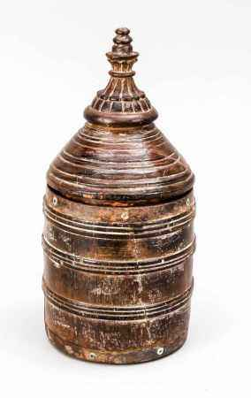 Round lid jar with lid in the shape of a stupa, Tibet, 1st third of the 20th century, dark