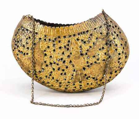 Kashkul (Islamic begging bowl), Persia, 19th century, sheet brass, gilded. Openwork and