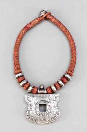 Necklace with a pendant in the shape of a castle, India, 1st half of the 20th century,