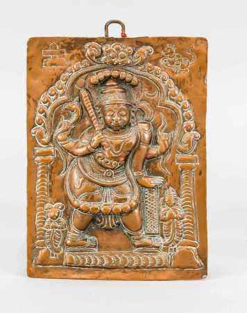 Copper plaque depicting the Virabhadra (Shiva incarnation), India, 19th century. driven