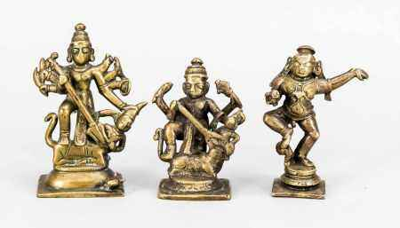 3 cult figures, India, early 20th century, brass, h. To 10 cm