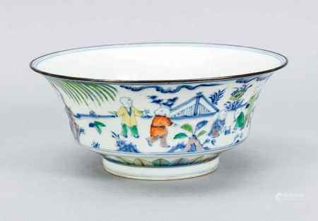 Wucai bowl, China, 19th century. Cylindrical foot ring with two-tier, curved wall. Lip rim