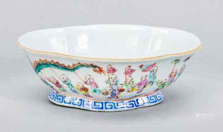 Famille Rose Bowl China, 18th C. Lobe / Curly Curved Wall. Outside wall with boys decor,
