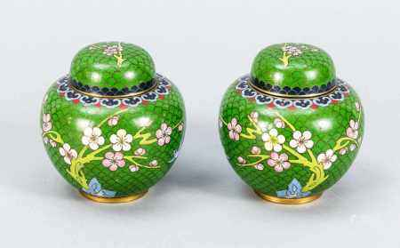 A pair of Cloisonné lid pots, China, 1st half of the 20th century, wall and lid with bird<