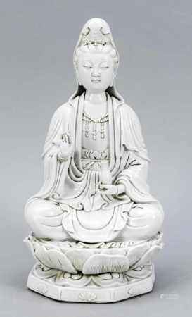 Blanc-de Chine-Guanyin, China, 19th / 20th Century Sitting on the octagonal lotus throne