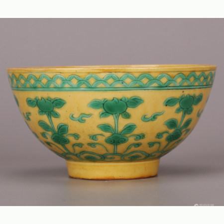 清 黄底绿釉碗