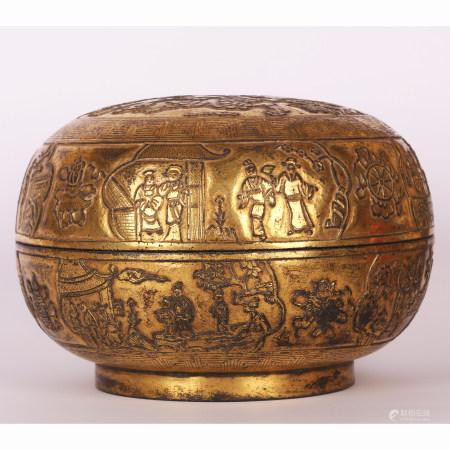 清 铜鎏金人物盖盒