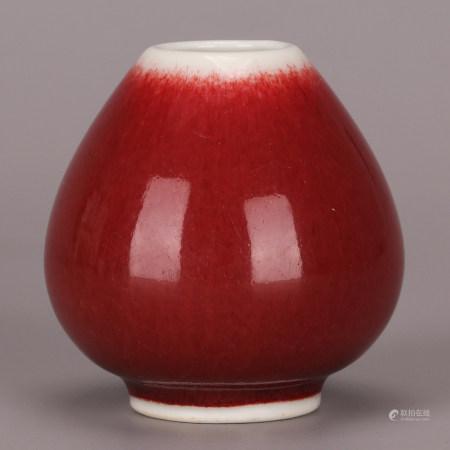 清 红釉小水盂