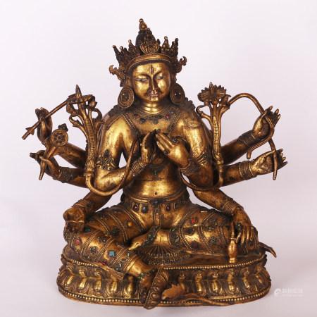 清 铜鎏金佛像
