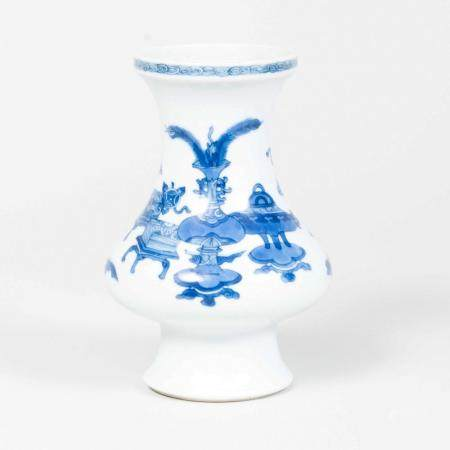 Chinese Blue and White Porcelain Vase Decorated with Scholar