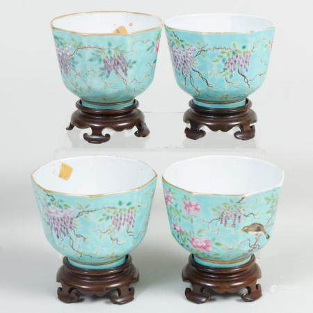Set of Four Chinese Turquoise Glaze Porcelain Guangxu Type C