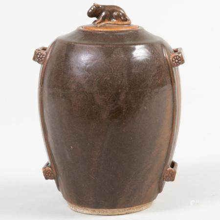 Chinese Brown Glazed Porcelain Vessel with Rat Form Finial