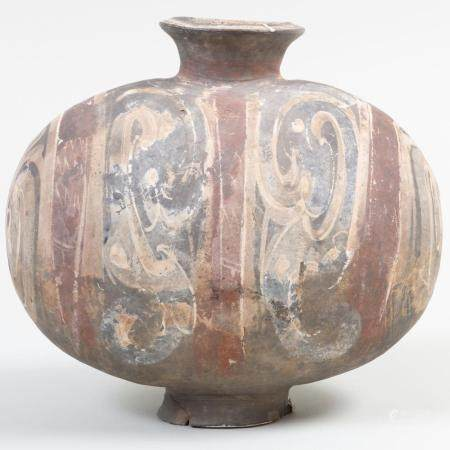 Chinese Painted Grey Pottery Cocoon Flask