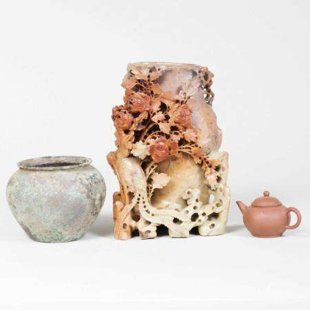 Chinese Soapstone Carved Vase, a Yixing Teapot, and a Bronze