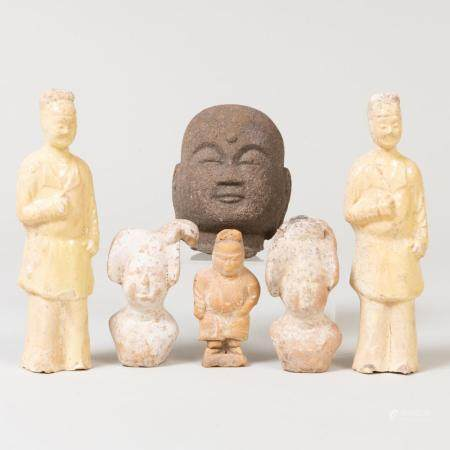 Group of Chinese Pottery Figures and a Carved Stone Head Fra