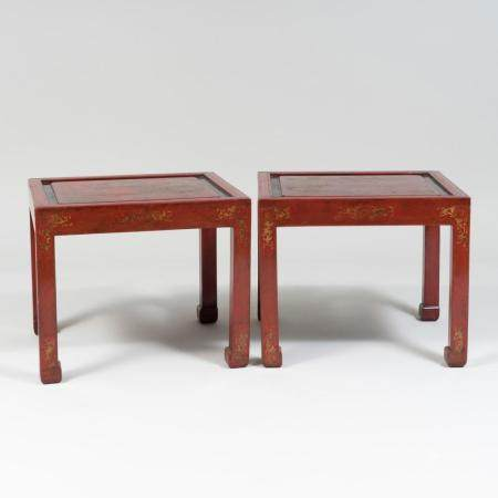 Pair of Chinese Export Red Lacquer and Parcel-Gilt Side Tabl