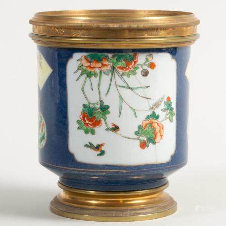 Chinese Brass-Mounted Blue Ground Porcelain Jardinière