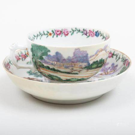 Chinese Export Porcelain Tea Bowl and Saucer Decorated with