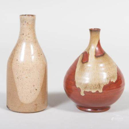 Two Japanese Glazed Earthenware Vases