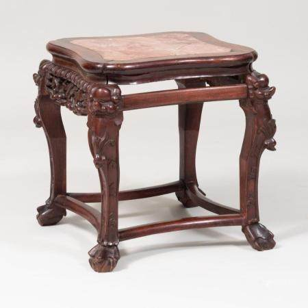 Chinese Carved Hardwood and Marble Low Table