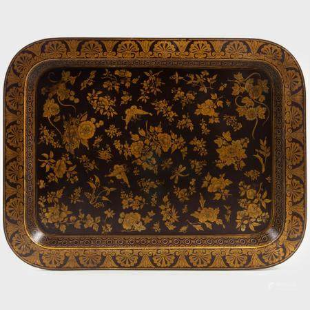 Chinese Export Style Lacquer and Gold Tray with Peonies and