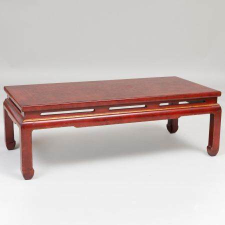Chinese Export Red Lacquer and Parcel-Gilt Low Table