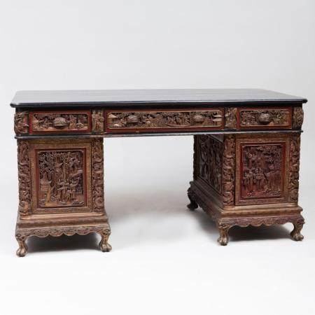 Chinese Ebonized, Painted and Oil Gilded Carved Partner's De