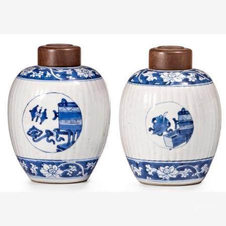 Ein Paar kleine bauchige Töpfe China, 18. Jh.