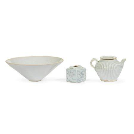 A Chinese footed dish, water coupe, and a qingbai-glazed sma