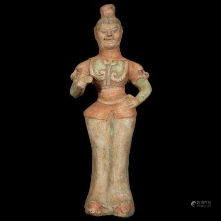A Chinese painted pottery figure of a guardian, Tang dynasty