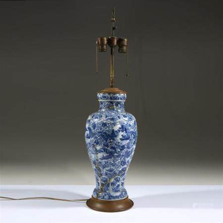 A Chinese blue and white baluster vase, now mounted as a lam