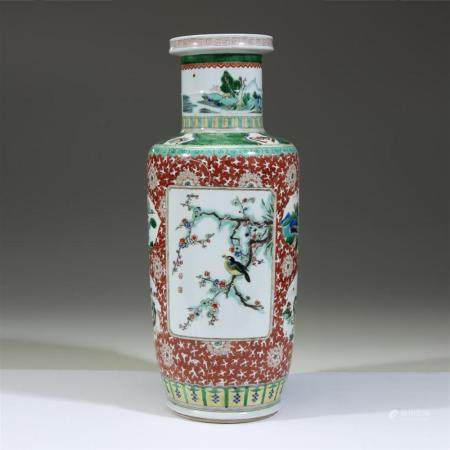 A Chinese famille verte rouleau vase, 19th century