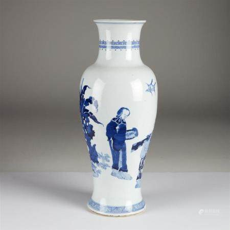 A Chinese blue and white tall porcelain baluster vase, 20th