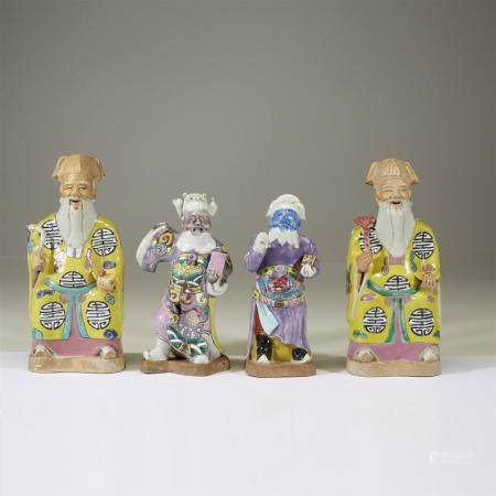 Two pairs of Chinese enameled porcelain figures, late 18th t