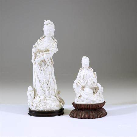 Two Chinese blanc de chine figures of Guanyin,