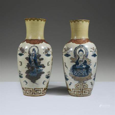 A pair of large Chinese underglaze blue and red-decorated va