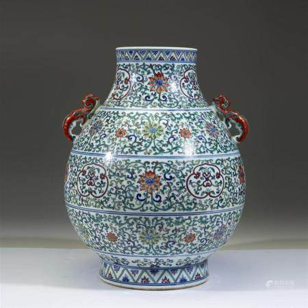 A large Chinese doucai-decorated porcelain vase, Hu, possibl
