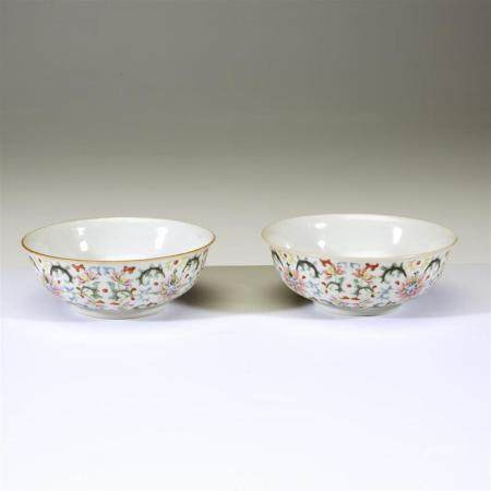 A pair of Chinese famille rose-decorated porcelain low bowls