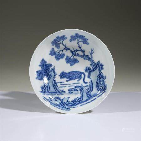 "A Chinese blue and white porcelain ""Tiger"" dish, Qing dynast"