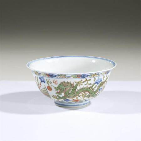 "A Chinese wucai-decorated porcelain ""Dragon and Phoenix"" bow"