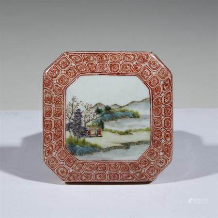 A Chinese famille rose-decorated porcelain octagonal paste b