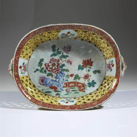A large Chinese export famille rose reticulated porcelain ba