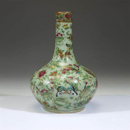 A Chinese export famille rose-decorated celadon-ground bottl