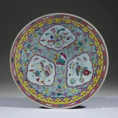 A Chinese famille rose-decorated porcelain charger, 19th/ear