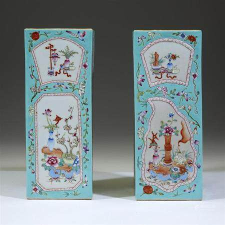 A pair of Chinese turquoise-ground square vases, late 19th/e